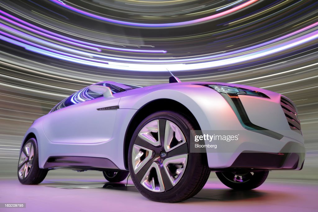 A Subaru Viziv concept automobile, produced by Fuji Heavy Industries Ltd., is seen on display on the second day of the 83rd Geneva International Motor Show in Geneva, Switzerland, on Wednesday, March 6, 2013. This year's show opens to the public on Mar. 7, and is set to feature more than 100 product premiers from the world's automobile manufacturers. Photographer: Valentin Flauraud/Bloomberg via Getty Images