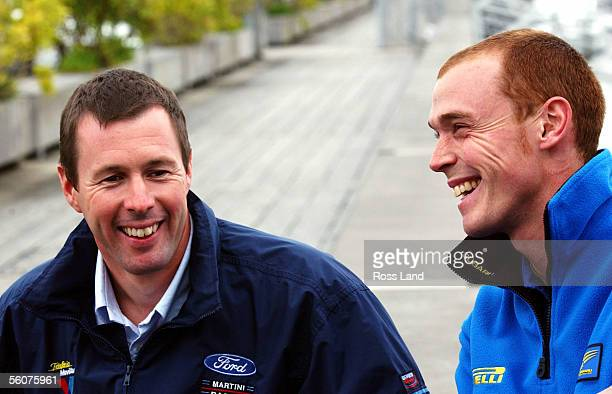 Subaru World Rally Team driver Richard Burns with Ford WRC driver Colin McRae in Auckland prior tho the start of the Propecia 2001 Rally Of New...