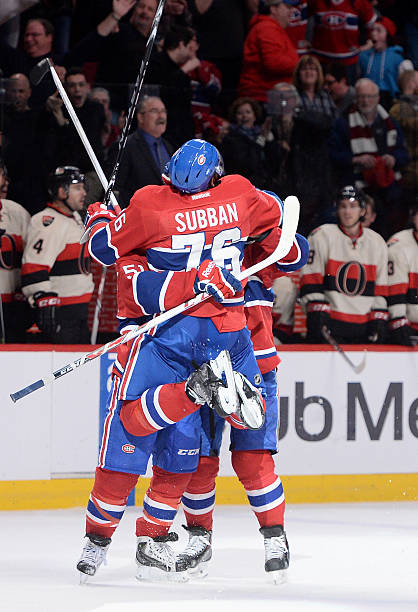 jersey p.k. subban 76 and david desharnais 51 the montreal canadiens celebrates after scoring