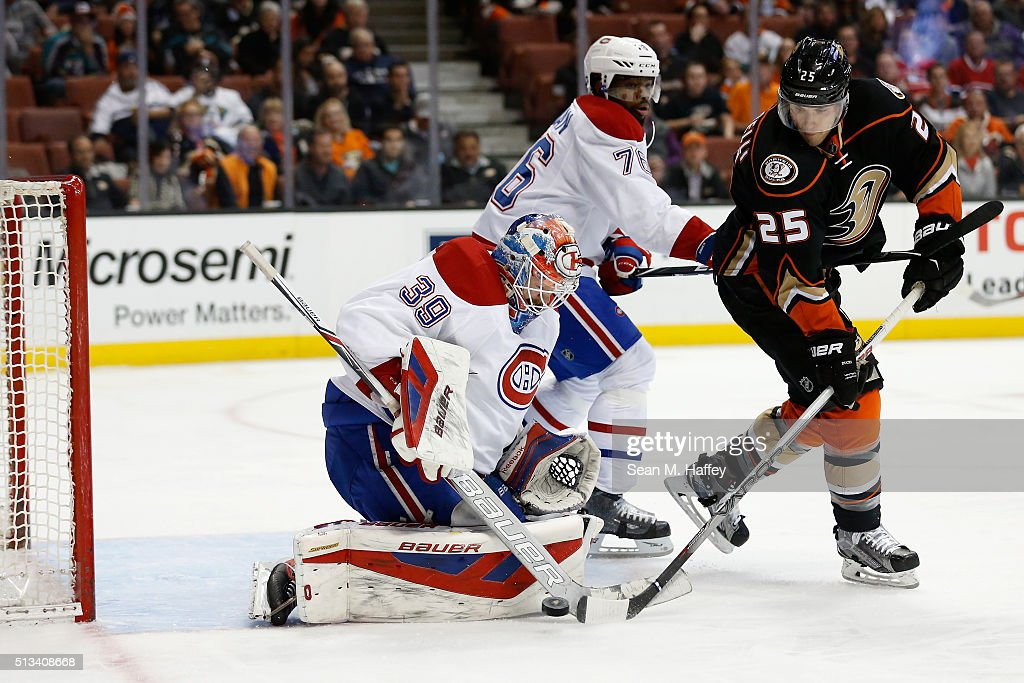 <a gi-track='captionPersonalityLinkClicked' href=/galleries/search?phrase=P.K.+Subban&family=editorial&specificpeople=714418 ng-click='$event.stopPropagation()'>P.K. Subban</a> #76 and <a gi-track='captionPersonalityLinkClicked' href=/galleries/search?phrase=Mike+Condon+-+Ice+Hockey+Goaltender&family=editorial&specificpeople=15096937 ng-click='$event.stopPropagation()'>Mike Condon</a> #39 of the Montreal Canadiens defend against the shot of <a gi-track='captionPersonalityLinkClicked' href=/galleries/search?phrase=Mike+Santorelli&family=editorial&specificpeople=4517042 ng-click='$event.stopPropagation()'>Mike Santorelli</a> #25 of the Anaheim Ducks during the first period of a game at Honda Center on March 2, 2016 in Anaheim, California.