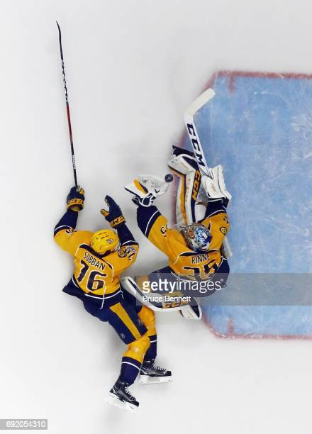 K Subban and Pekka Rinne of the Nashville Predators defend against the Pittsburgh Penguins at the Bridgestone Arena on June 3 2017 in Nashville...