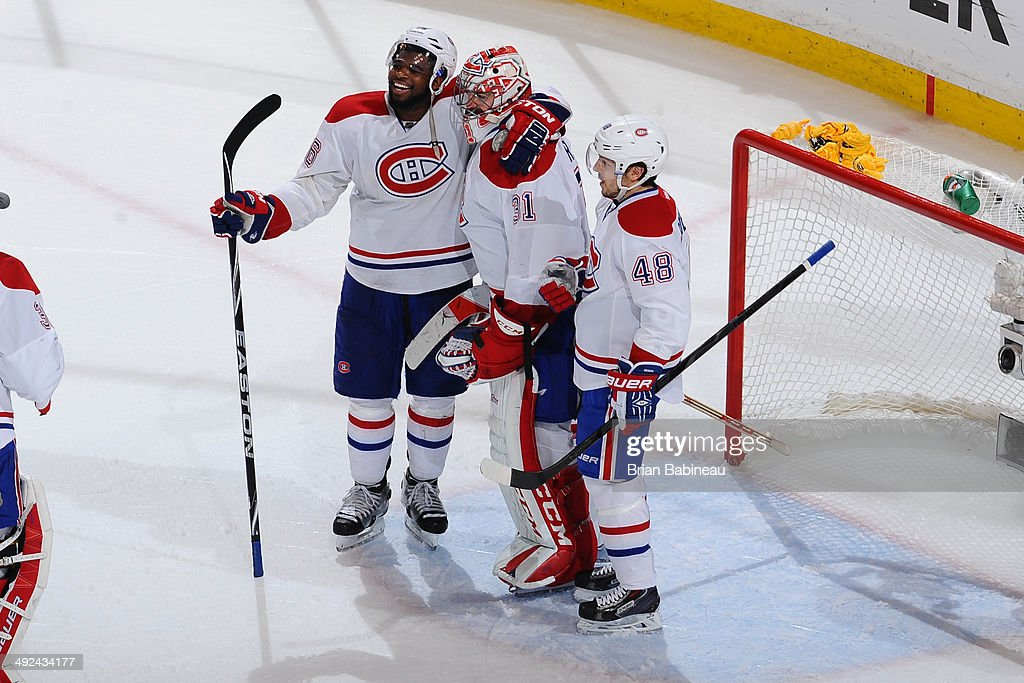 P.K. Subban #76, Carey Price #31 and Daniel Briere #48 of the Montreal Canadiens celebrate the win against the Boston Bruins in Game Seven of the Second Round of the 2014 Stanley Cup Playoffs at TD Garden on May 14, 2014 in Boston, Massachusetts.