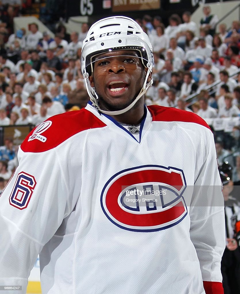 Subban of the Montreal Canadiens argues a call against the Pittsburgh Penguins in Game Two of the Eastern Conference Semifinals during the 2010 NHL...