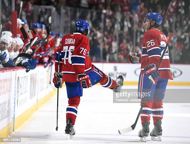 K Subban of the Montreal Canadiens celebrate after scoring a goal against the Toronto Maple Leafs in the NHL game at the Bell Centre on October 24...