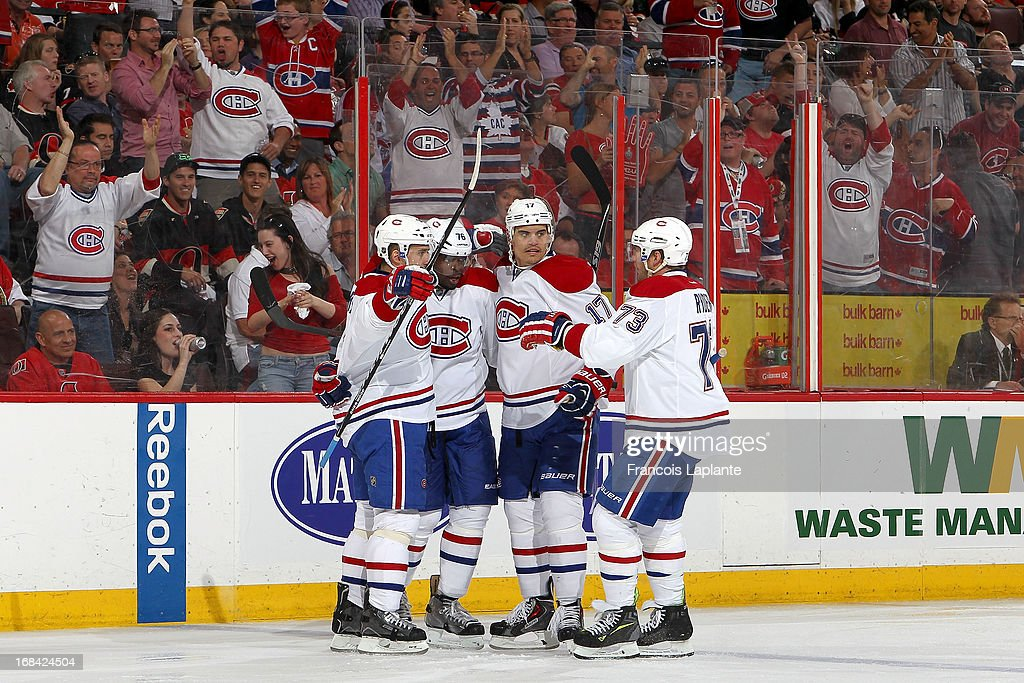 P.K. Subban #76 of the Montreal Canadiens celebrate his goal with teammates Tomas Plekanec #14, Rene Bourque #17 and Michael Ryder #73 against the Ottawa Senators in Game Four of the Eastern Conference Quarterfinals during the 2013 NHL Stanley Cup Playoffs at Scotiabank Place on May 7, 2013 in Ottawa, Ontario, Canada.