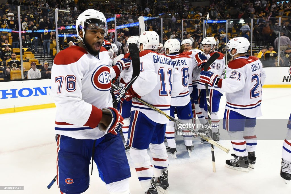 <a gi-track='captionPersonalityLinkClicked' href=/galleries/search?phrase=P.K.+Subban&family=editorial&specificpeople=714418 ng-click='$event.stopPropagation()'>P.K. Subban</a> #76 of the Montreal Canadiens celebrates a win against the Boston Bruins in Game Seven of the Second Round of the 2014 Stanley Cup Playoffs at TD Garden on May 14, 2014 in Boston, Massachusetts.