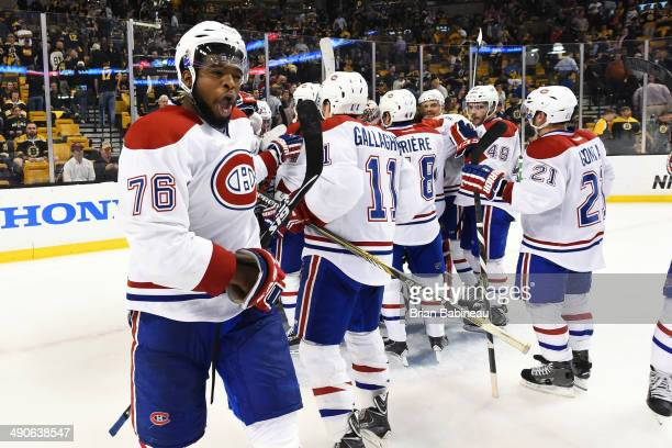 K Subban of the Montreal Canadiens celebrates a win against the Boston Bruins in Game Seven of the Second Round of the 2014 Stanley Cup Playoffs at...