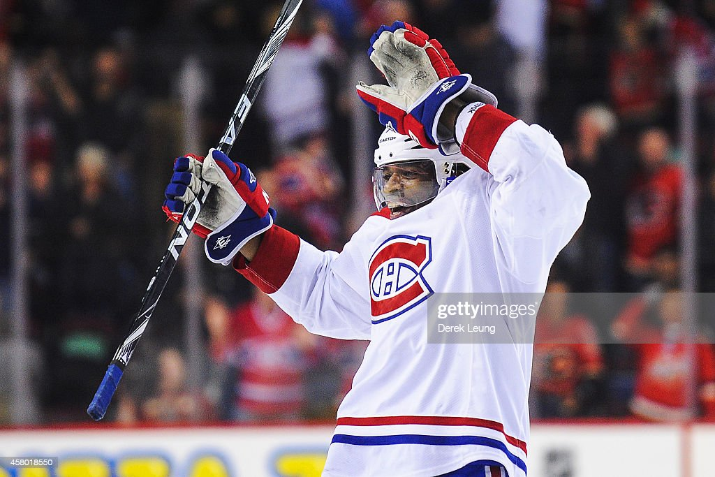 P.K. Subban #76 of the Montreal Canadiens celebrates after defeating the Calgary Flames during an NHL game at Scotiabank Saddledome on October 28, 2014 in Calgary, Alberta, Canada. The Canadiens defeated the Flames 2-1 in shootout.