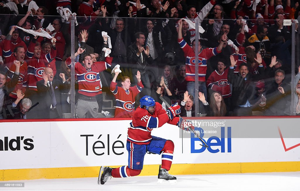 <a gi-track='captionPersonalityLinkClicked' href=/galleries/search?phrase=P.K.+Subban&family=editorial&specificpeople=714418 ng-click='$event.stopPropagation()'>P.K. Subban</a> #76 of the Montreal Canadiens celebrates after scoring the second goal against the Boston Bruins in the first period in Game Three of the Second Round of the 2014 Stanley Cup Playoffs at the Bell Centre on May 6, 2014 in Montreal, Quebec, Canada.