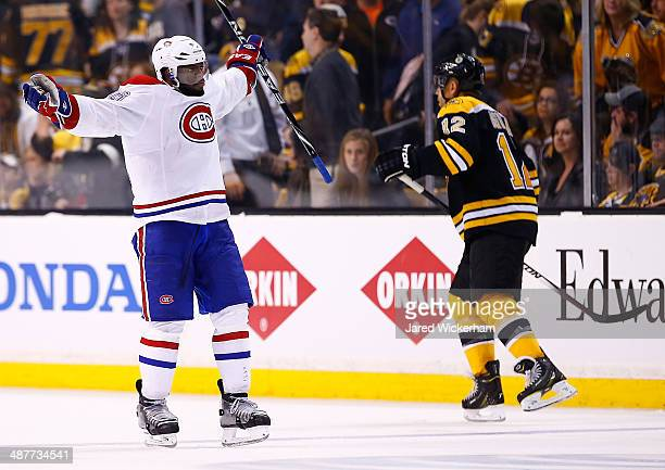 K Subban of the Montreal Canadiens celebrates his gamewinning power play goal in the second overtime period against the Boston Bruins in Game One of...