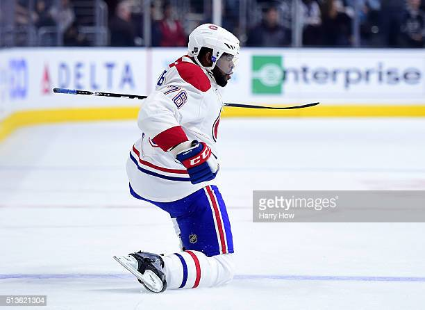 K Subban of the Montreal Canadiens celebrates his goal against the Los Angeles Kings to trail 21 during the first period at Staples Center on March 3...