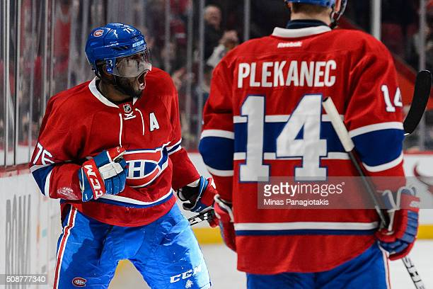 K Subban of the Montreal Canadiens celebrates his goal during the NHL game against the Edmonton Oilers at the Bell Centre on February 6 2016 in...