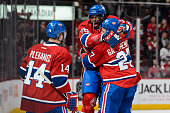 K Subban of the Montreal Canadiens celebrates his goal with teammates Tomas Plekanec and Alex Galchenyuk during the NHL game against the Edmonton...