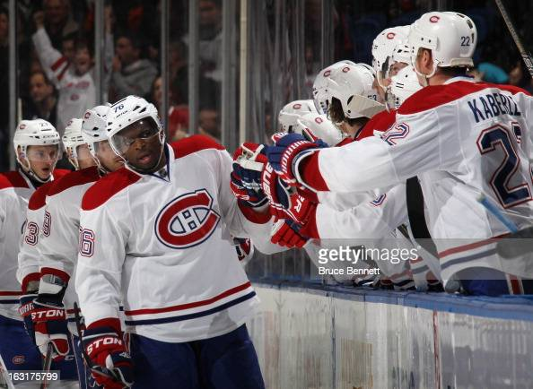 K Subban of the Montreal Canadiens celebrates his power play goal at 1649 of the second period against the New York Islanders at the Nassau Veterans...