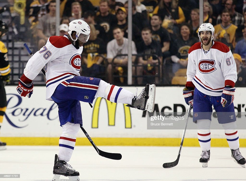 <a gi-track='captionPersonalityLinkClicked' href=/galleries/search?phrase=P.K.+Subban&family=editorial&specificpeople=714418 ng-click='$event.stopPropagation()'>P.K. Subban</a> #76 of the Montreal Canadiens celebrates his third period goal against the Boston Bruins along with <a gi-track='captionPersonalityLinkClicked' href=/galleries/search?phrase=Max+Pacioretty&family=editorial&specificpeople=4324972 ng-click='$event.stopPropagation()'>Max Pacioretty</a> #67 during Game Five of the Second Round of the 2014 NHL Stanley Cup Playoffs at the TD Garden on May 10, 2014 in Boston, Massachusetts. The Bruins defeated the Canadians 4-2.