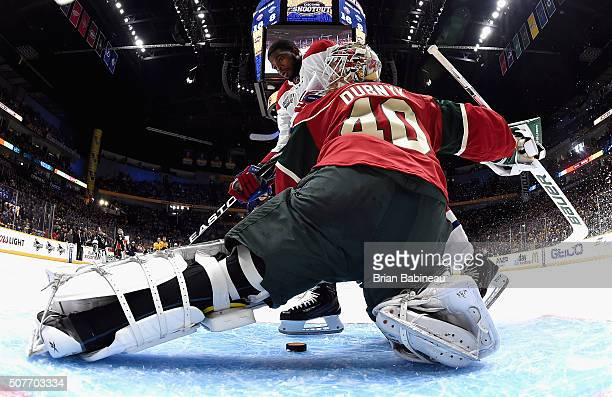 P K Subban of the Montreal Canadiens competes against goaltender Devan Dubnyk of the Minnesota Wild in the Discover NHL Shootout during 2016 Honda...