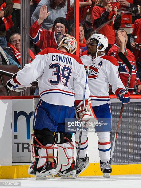 K Subban of the Montreal Canadiens congratulates goaltender Mike Condon on his first NHL career victory against the Ottawa Senators at Canadian Tire...
