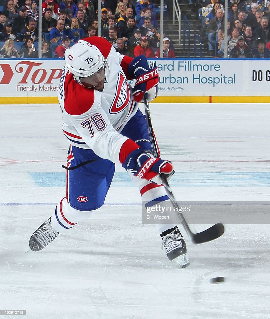 <a gi-track='captionPersonalityLinkClicked' href=/galleries/search?phrase=P.K.+Subban&family=editorial&specificpeople=714418 ng-click='$event.stopPropagation()'>P.K. Subban</a> #76 of the Montreal Canadiens fires a second-period slapshot against the Buffalo Sabres on February 7, 2013 at the First Niagara Center in Buffalo, New York.