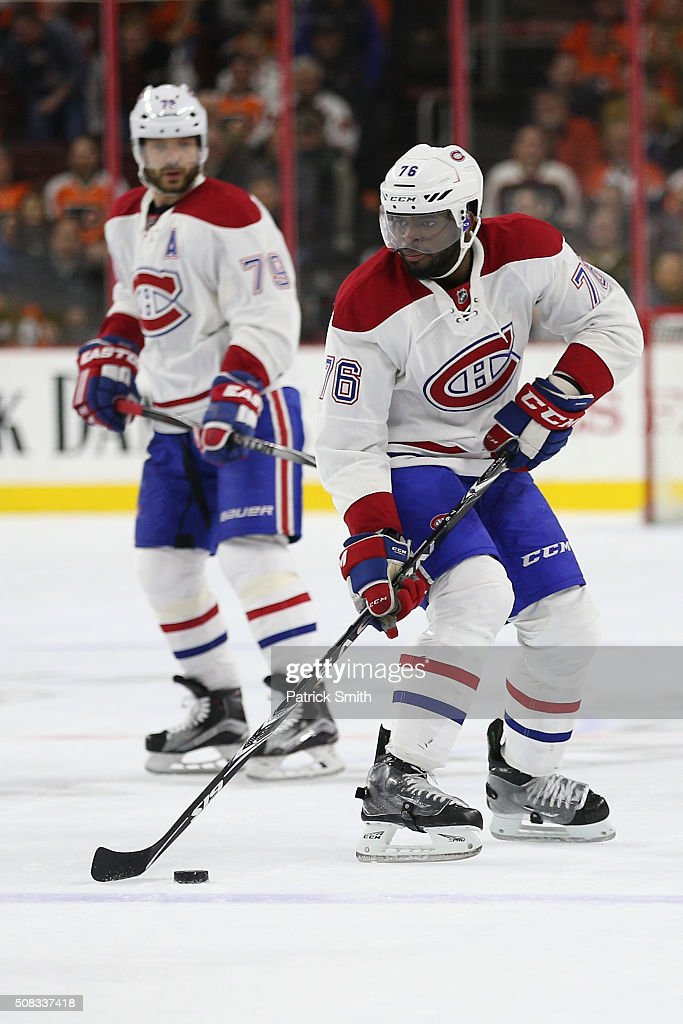 P.K. Subban #76 of the Montreal Canadiens in action against the Philadelphia Flyers at Wells Fargo Center on February 2, 2016 in Philadelphia, Pennsylvania.