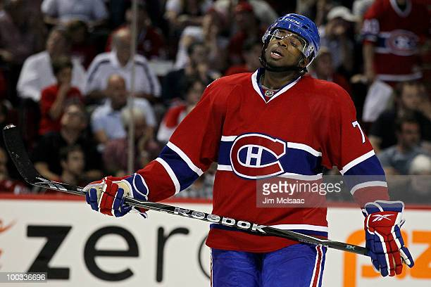 K Subban of the Montreal Canadiens looks on against the Philadelphia Flyers in Game 4 of the Eastern Conference Finals during the 2010 NHL Stanley...