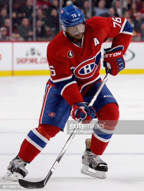 K Subban of the Montreal Canadiens plays in the game against the Los Angeles Kings at the Bell Centre on December 12 2014 in Montreal Quebec Canada