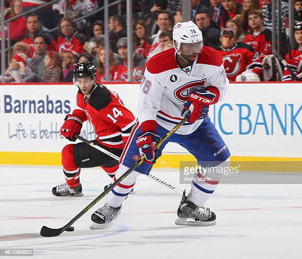 K Subban of the Montreal Canadiens plays the puck during the game against the New Jersey Devils at the Prudential Center on January 2 2015 in Newark...