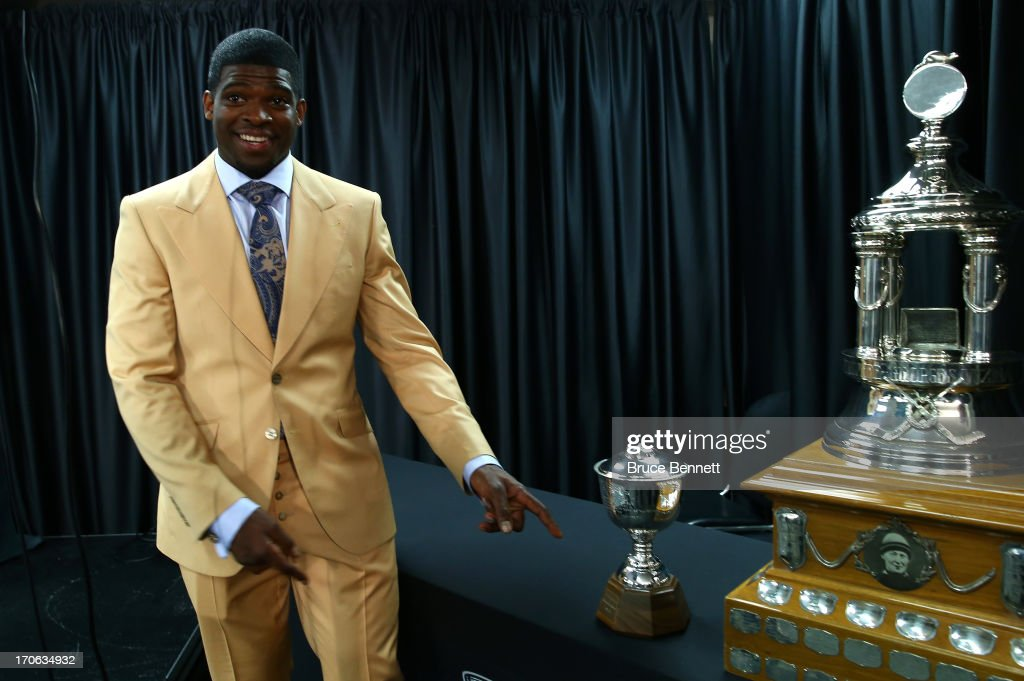 <a gi-track='captionPersonalityLinkClicked' href=/galleries/search?phrase=P.K.+Subban&family=editorial&specificpeople=714418 ng-click='$event.stopPropagation()'>P.K. Subban</a> #76 of the Montreal Canadiens poses with the James Norris Memorial Trophy after he was named winner for 2012-13 NHL season during Game Two of the NHL 2013 Stanley Cup Final at United Center on June 15, 2013 in Chicago, Illinois.