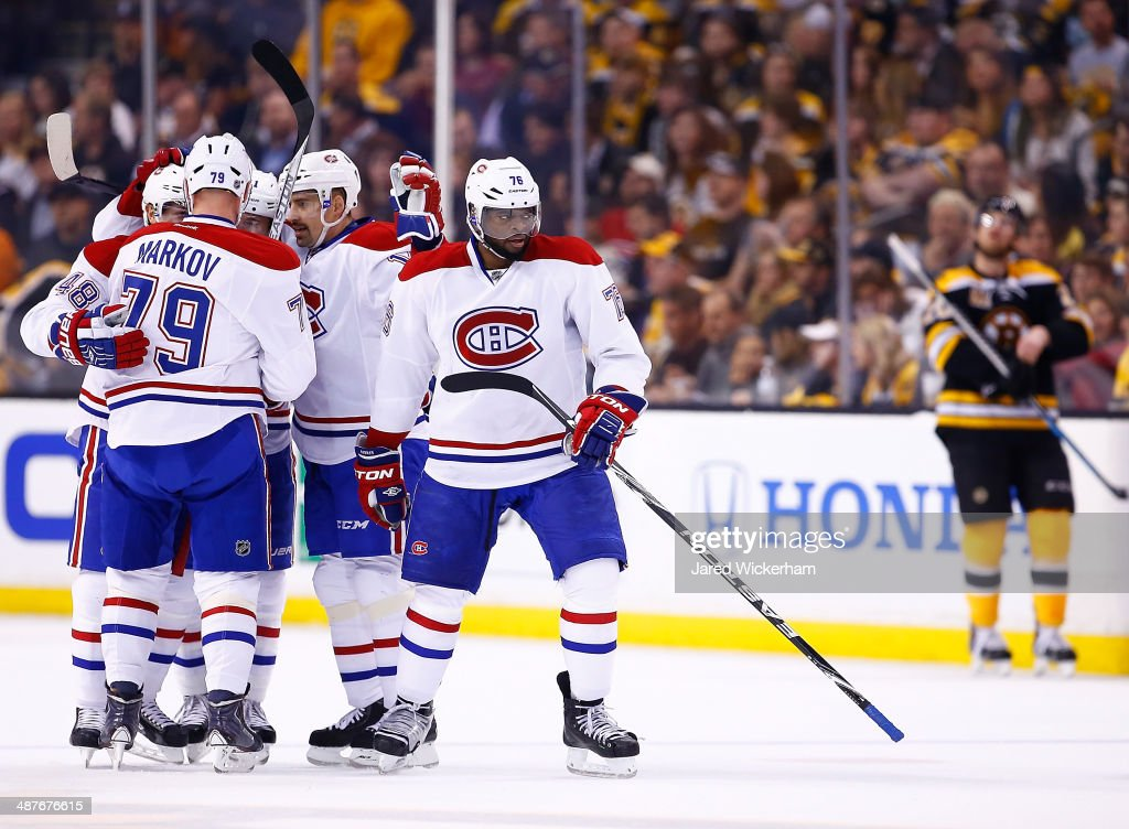<a gi-track='captionPersonalityLinkClicked' href=/galleries/search?phrase=P.K.+Subban&family=editorial&specificpeople=714418 ng-click='$event.stopPropagation()'>P.K. Subban</a> #76 of the Montreal Canadiens reacts after scoring in the first period against the Boston Bruins in Game One of the Second Round of the 2014 NHL Stanley Cup Playoffs on May 1, 2014 in Boston, Massachusetts.
