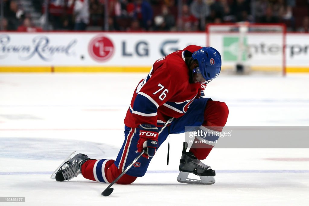 <a gi-track='captionPersonalityLinkClicked' href=/galleries/search?phrase=P.K.+Subban&family=editorial&specificpeople=714418 ng-click='$event.stopPropagation()'>P.K. Subban</a> #76 of the Montreal Canadiens reacts on the ice late in the third period in Game Two of the Eastern Conference Final against the New York Rangers during the 2014 Stanley Cup Playoffs at Bell Centre on May 19, 2014 in Montreal, Canada.