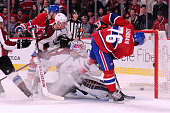 K Subban of the Montreal Canadiens scores his second goal of the game on Calvin Pickard of the Colorado Avalanche at the Bell Centre on October 18...