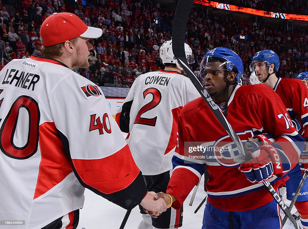 <a gi-track='captionPersonalityLinkClicked' href=/galleries/search?phrase=P.K.+Subban&family=editorial&specificpeople=714418 ng-click='$event.stopPropagation()'>P.K. Subban</a> #76 of the Montreal Canadiens shake hands with <a gi-track='captionPersonalityLinkClicked' href=/galleries/search?phrase=Robin+Lehner&family=editorial&specificpeople=5894610 ng-click='$event.stopPropagation()'>Robin Lehner</a> #40 of the Ottawa Senators after Game Five of the Eastern Conference Quarterfinals during the 2013 NHL Stanley Cup Playoffs at the Bell Centre on May 9, 2013 in Montreal, Quebec, Canada.