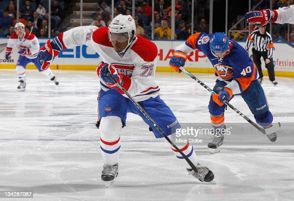 K Subban of the Montreal Canadiens skates against the New York Islanders at Nassau Veterans Memorial Coliseum on November 17 2011 in Uniondale New...