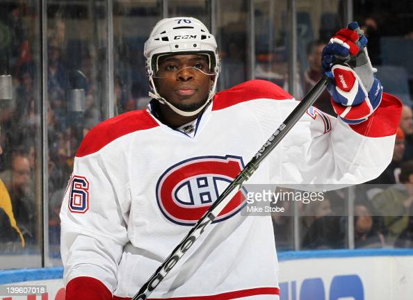 K Subban of the Montreal Canadiens skates against the New York Islanders at Nassau Veterans Memorial Coliseum on February 9 2012 in Uniondale New...