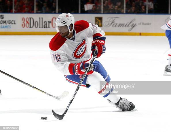 K Subban of the Montreal Canadiens skates against the New York Islanders at Nassau Veterans Memorial Coliseum on March 5 2013 in Uniondale New York...
