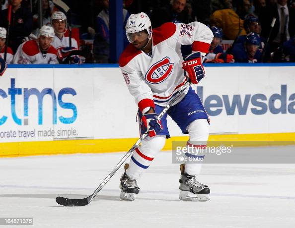 K Subban of the Montreal Canadiens skates against the New York Islanders at Nassau Veterans Memorial Coliseum on March 21 2013 in Uniondale New York...