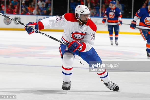 K Subban of the Montreal Canadiens skates against the New York Islanders at Nassau Veterans Memorial Coliseum on December 14 2013 in Uniondale New...