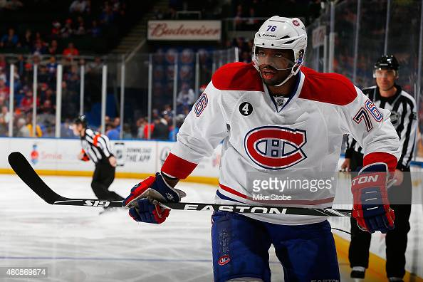 K Subban of the Montreal Canadiens skates against the New York Islanders at Nassau Veterans Memorial Coliseum on December 23 2014 in Uniondale New...