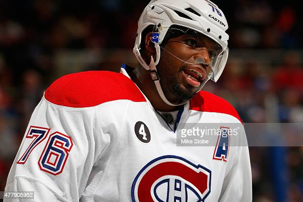 K Subban of the Montreal Canadiens skates against the New York Islanders at Nassau Veterans Memorial Coliseum on March 14 2015 in Uniondale New York...