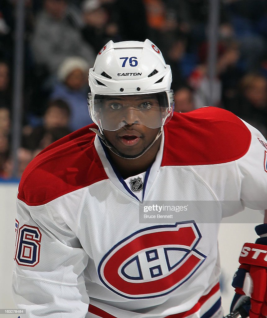 P.K. Subban #76 of the Montreal Canadiens skates against the New York Islanders at the Nassau Veterans Memorial Coliseum on March 5, 2013 in Uniondale, New York. The Islanders defeated the Canadiens 6-3.