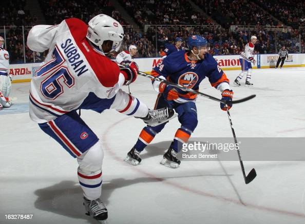 K Subban of the Montreal Canadiens skates against the New York Islanders at the Nassau Veterans Memorial Coliseum on March 5 2013 in Uniondale New...