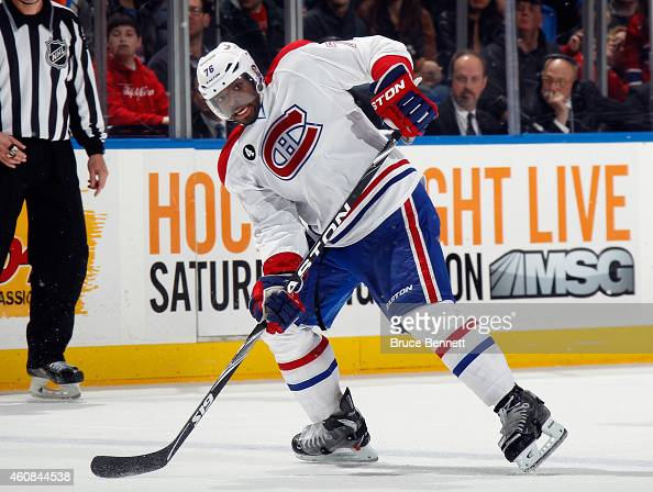K Subban of the Montreal Canadiens skates against the New York Islanders at the Nassau Veterans Memorial Coliseum on December 23 2014 in Uniondale...