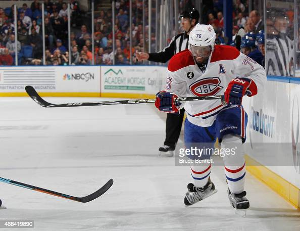 K Subban of the Montreal Canadiens skates against the New York Islanders at the Nassau Veterans Memorial Coliseum on March 14 2015 in Uniondale New...