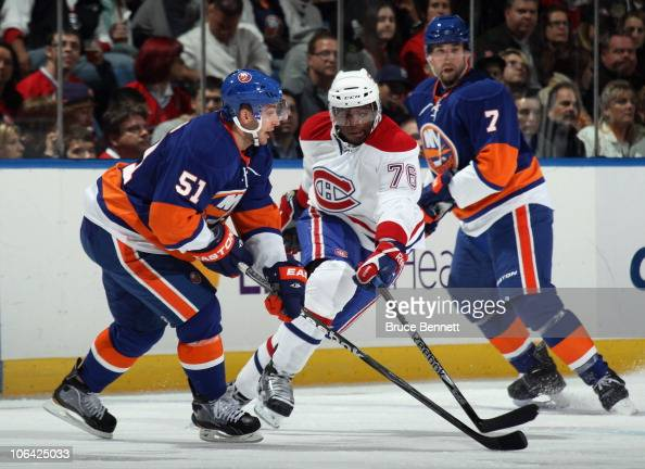 K Subban of the Montreal Canadiens skates against the New York Islanders on October 29 2010 in Uniondale New York