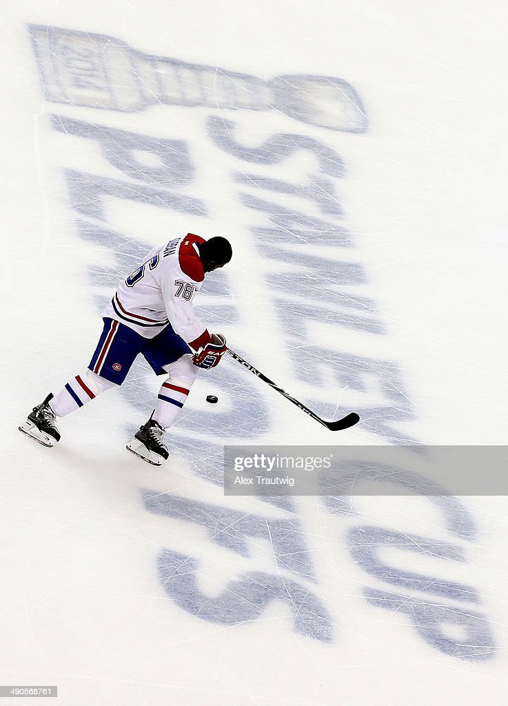 P.K. Subban #76 of the Montreal Canadiens skates before Game Seven of the Second Round of the 2014 NHL Stanley Cup Playoffs against the Boston Bruins at the TD Garden on May 14, 2014 in Boston, Massachusetts.