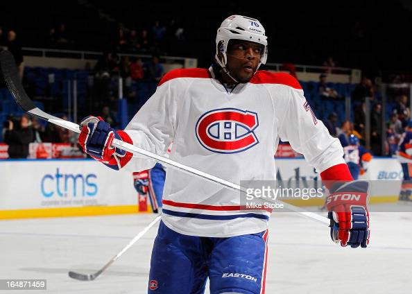 K Subban of the Montreal Canadiens skates during warmups prior to the game against the New York Islanders at Nassau Veterans Memorial Coliseum on...