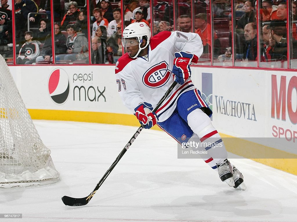 PK Subban #76 of the Montreal Canadiens skates with the puck against the Philadelphia Flyers on February 12, 2010 at the Wachovia Center in Philadelphia, Pennsylvania.