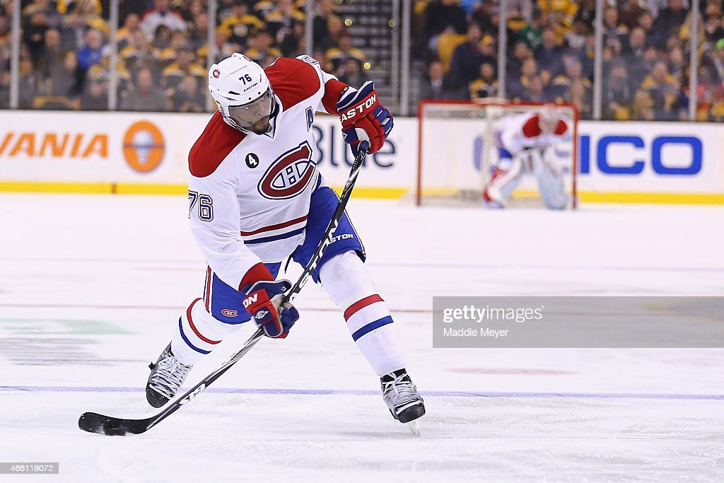 P.K. Subban #76 of the Montreal Canadiens takes a shot against the Boston Bruins at TD Garden on February 8, 2015 in Boston, Massachusetts.