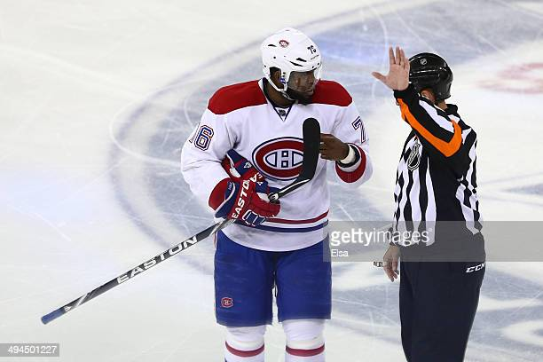 K Subban of the Montreal Canadiens talks with a referee in the second period against the New York Rangers during Game Six of the Eastern Conference...