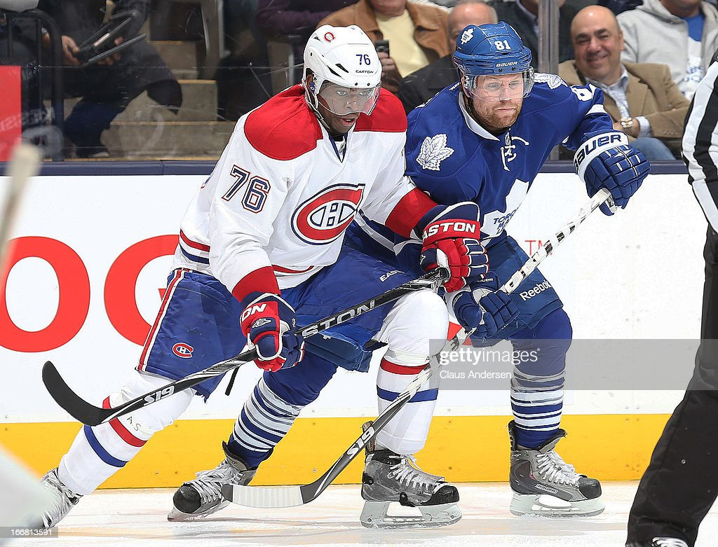 <a gi-track='captionPersonalityLinkClicked' href=/galleries/search?phrase=P.K.+Subban&family=editorial&specificpeople=714418 ng-click='$event.stopPropagation()'>P.K. Subban</a> #76 of the Montreal Canadiens ties up <a gi-track='captionPersonalityLinkClicked' href=/galleries/search?phrase=Phil+Kessel&family=editorial&specificpeople=537794 ng-click='$event.stopPropagation()'>Phil Kessel</a> #81 of the Toronto Maple Leafs on April 13, 2013 at the Air Canada Centre in Toronto, Canada. The Leafs defeated the Canadiens 5-1.