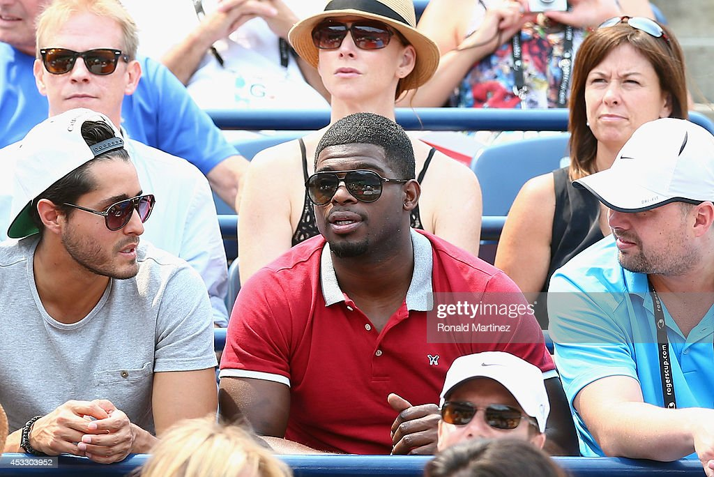P.K. Subban of the Montreal Canadiens watches play between Novak Djokovic of Serbia and Jo-Wilfried Tsonga of France during Rogers Cup at Rexall Centre at York University on August 7, 2014 in Toronto, Canada.